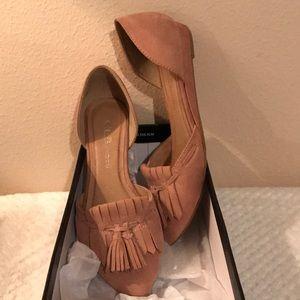 Suede tassel pointed toe flat